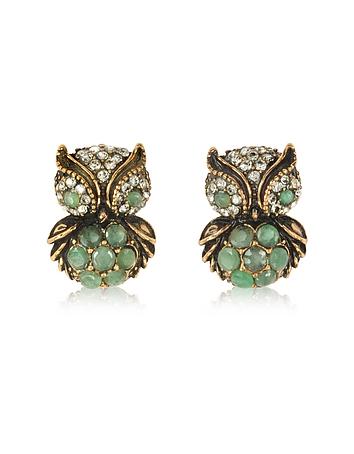 Green Owl Earrings w/Stones