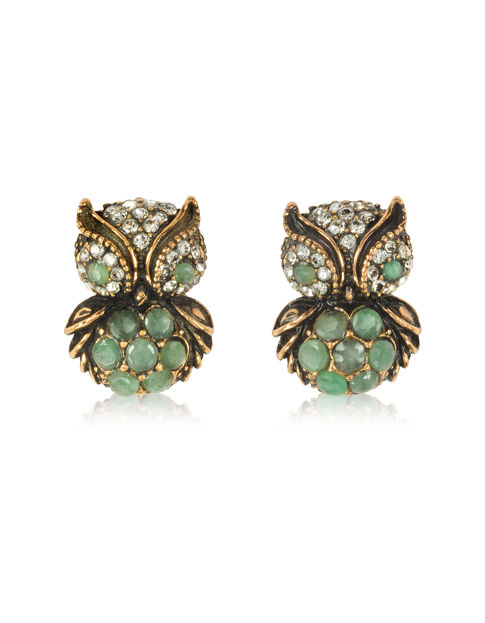 Alcozer & J Earrings, Green Owl Earrings w/Stones