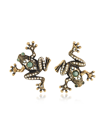 1930s Jewelry | Art Deco Style Jewelry Frog Earrings wCrystals $200.00 AT vintagedancer.com