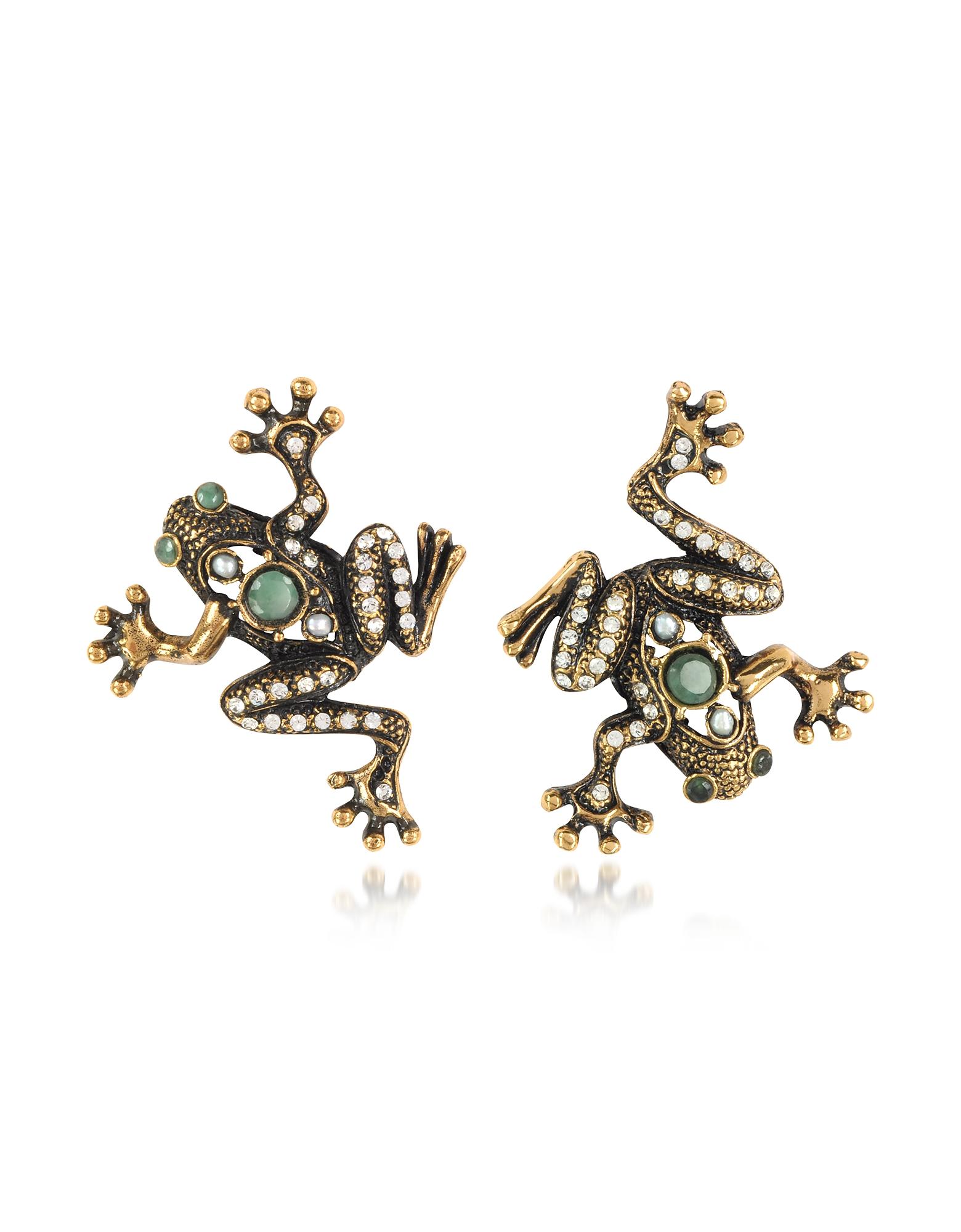 Alcozer & J Earrings, Frog Earrings w/Crystals