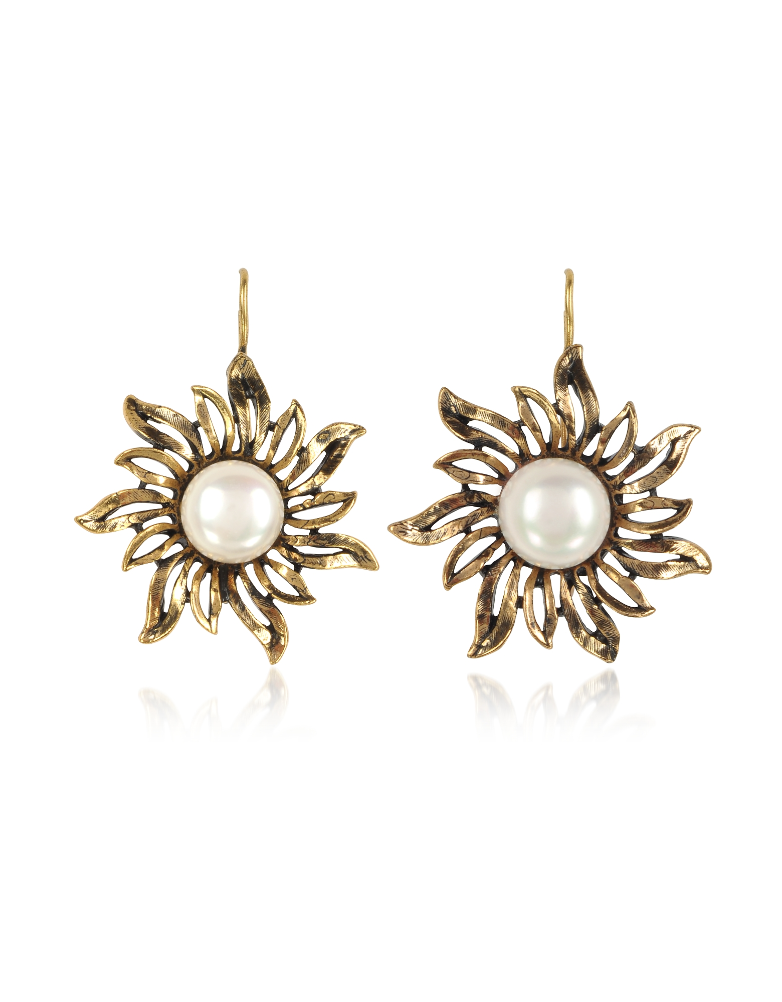 Alcozer & J Earrings, Sun Earrings w/Pearls