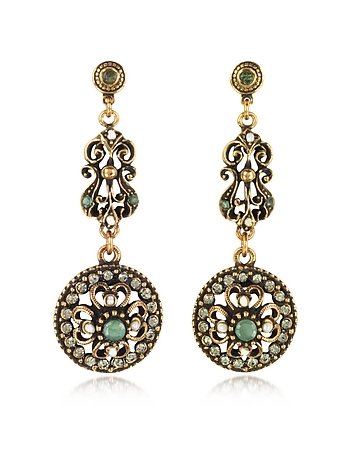 Drop Earrings w/Rough Emeralds