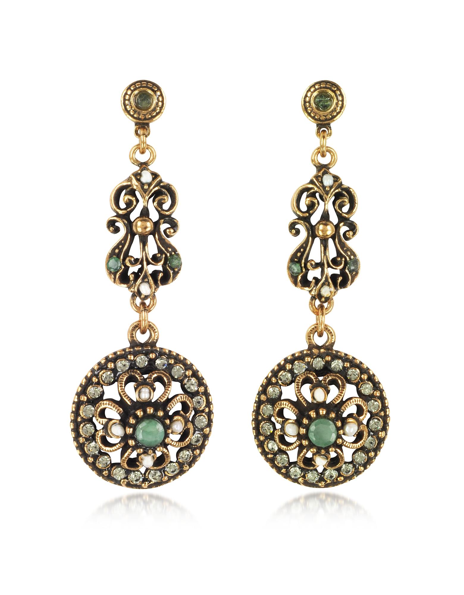 Alcozer & J Earrings, Drop Earrings w/Rough Emeralds