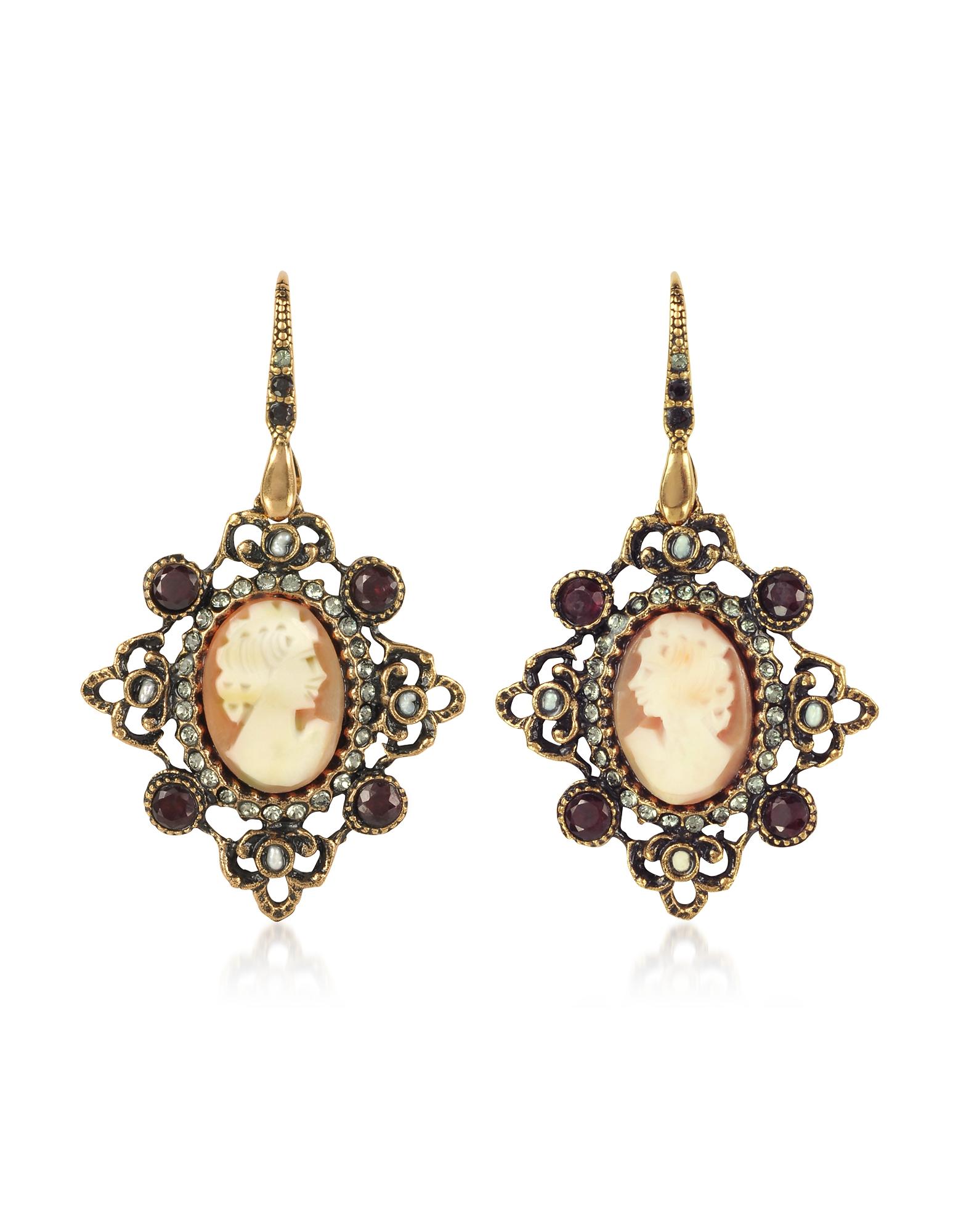 Alcozer & J  Earrings Cameo Earrings W/ Baroque Frame