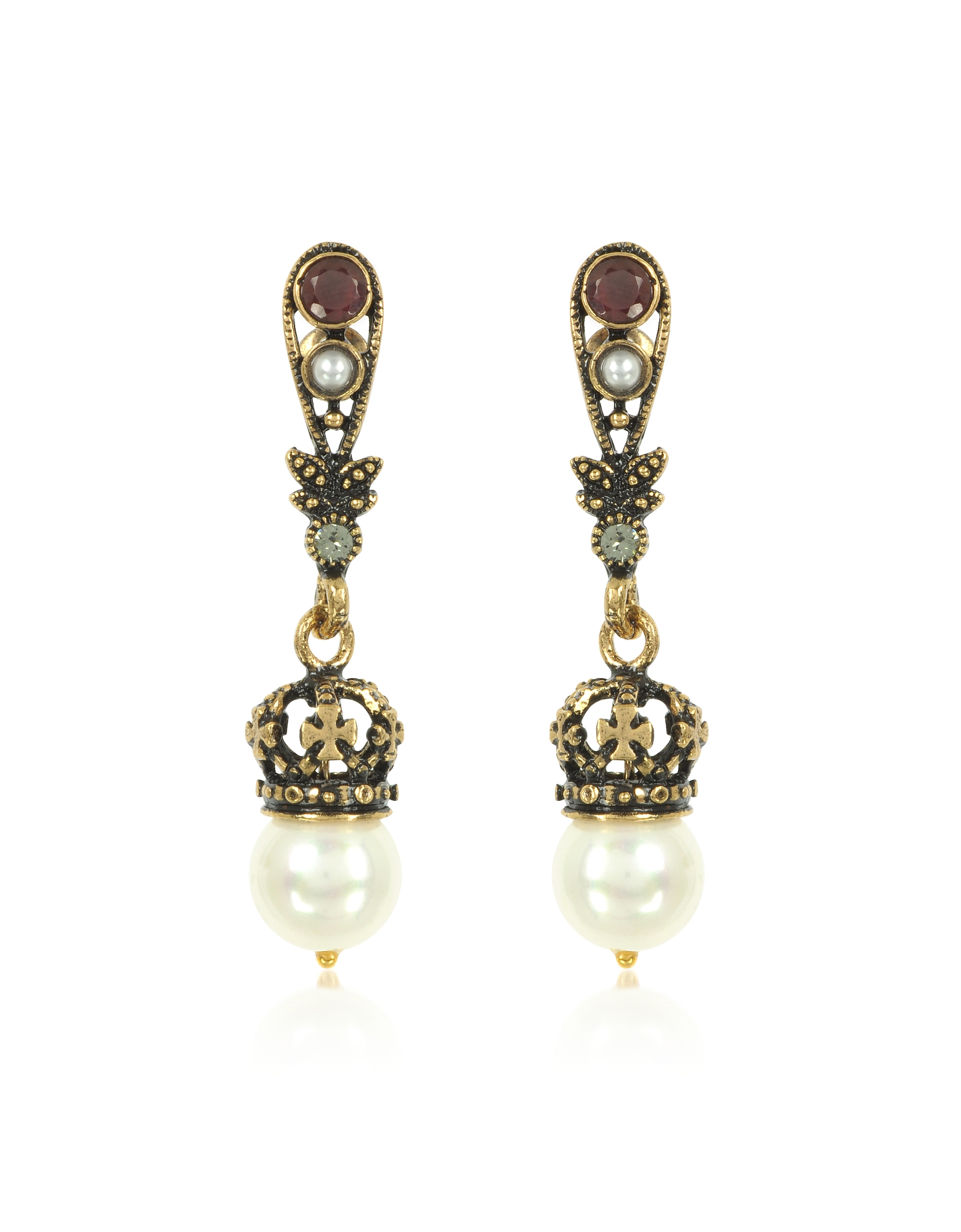 Drop Crown Earrings w/Pearls. Drop Crown Earrings w/Pearls, are made for a queen that feature teardrop base with garnet and pearl, and dangling pearl