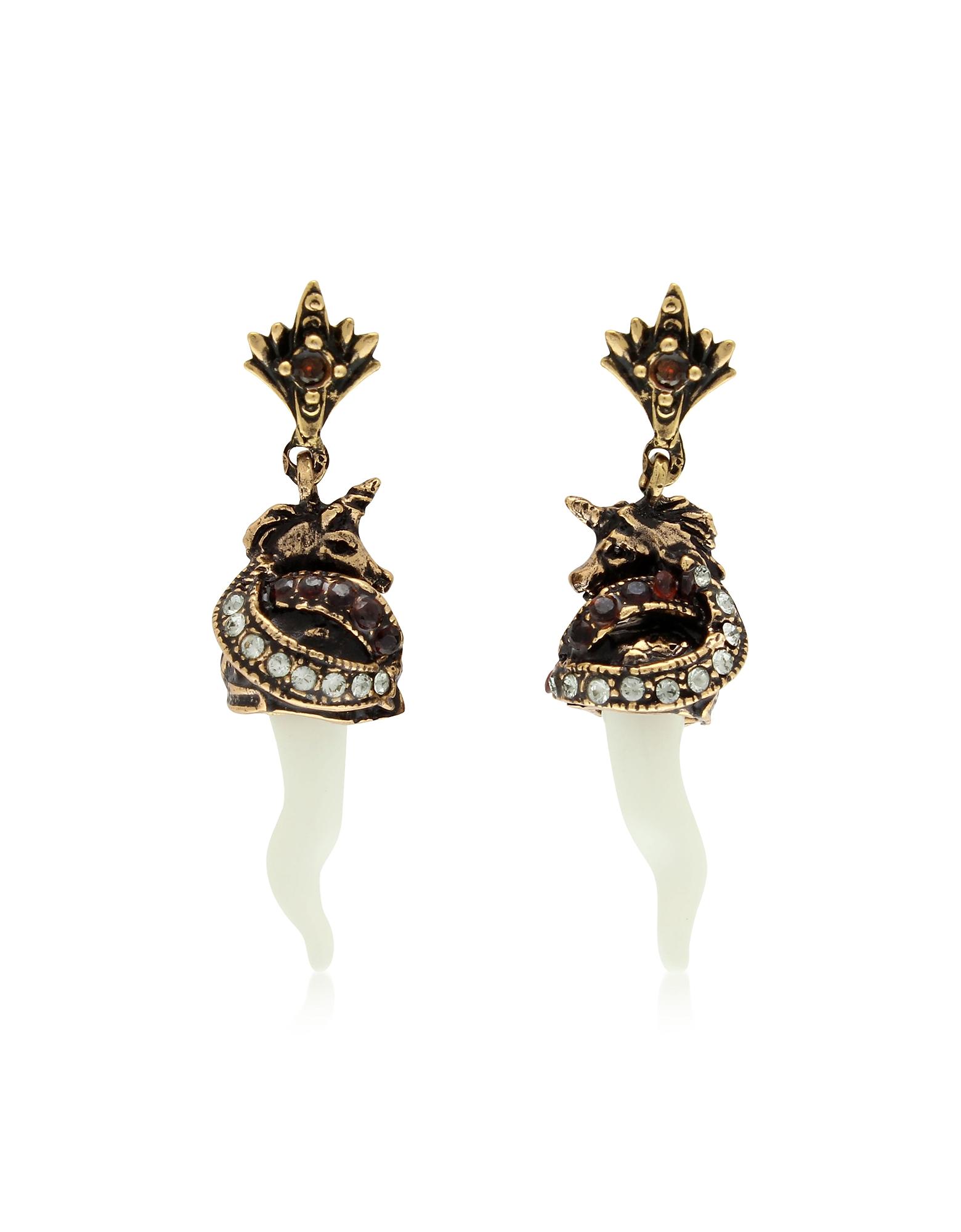 Alcozer & J  Earrings Unicorn and Horn Brass Earrings