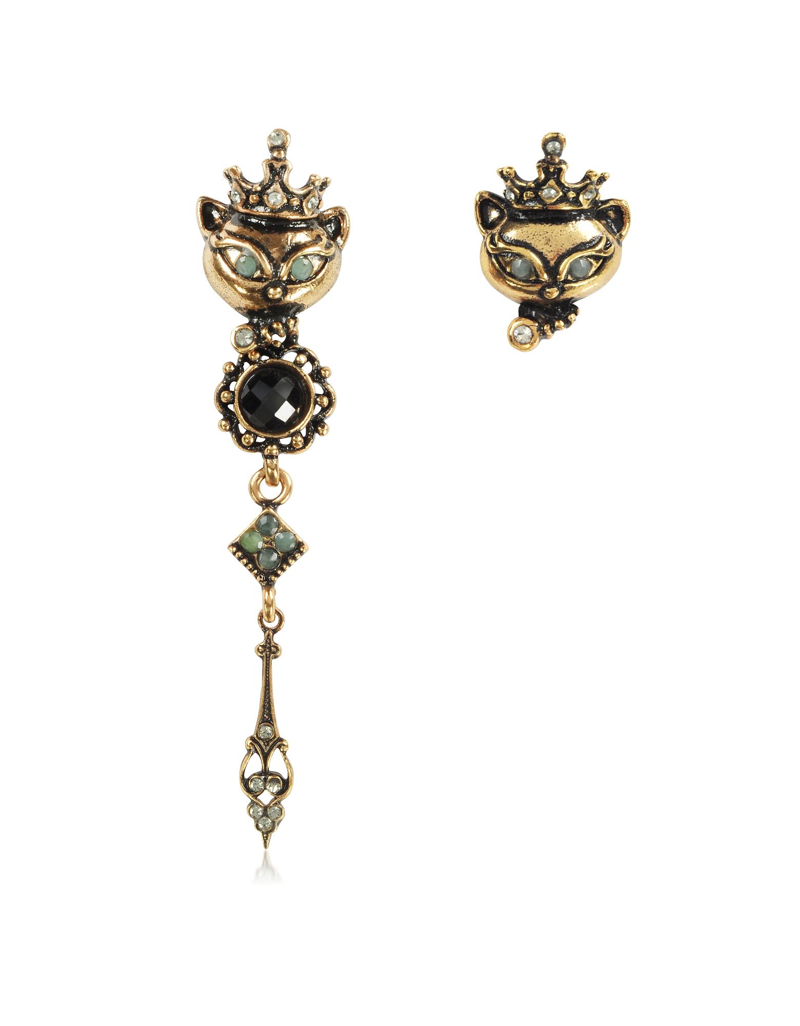 King Cat Asymmetrical Earrings