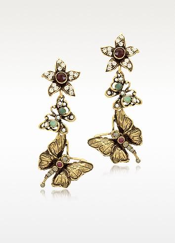 Gemstone, Gold Plated Brass Butterflies with Flower Earrings  - Alcozer & J