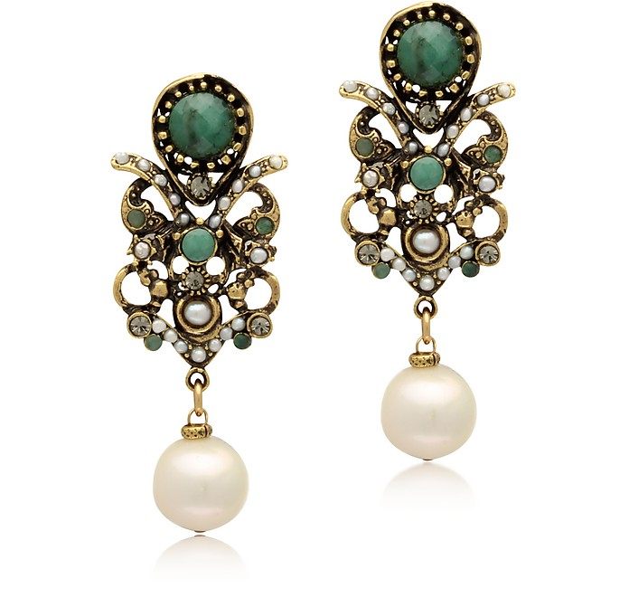 Golden Brass, Glass Pearl and Emerald Earrings - Alcozer & J