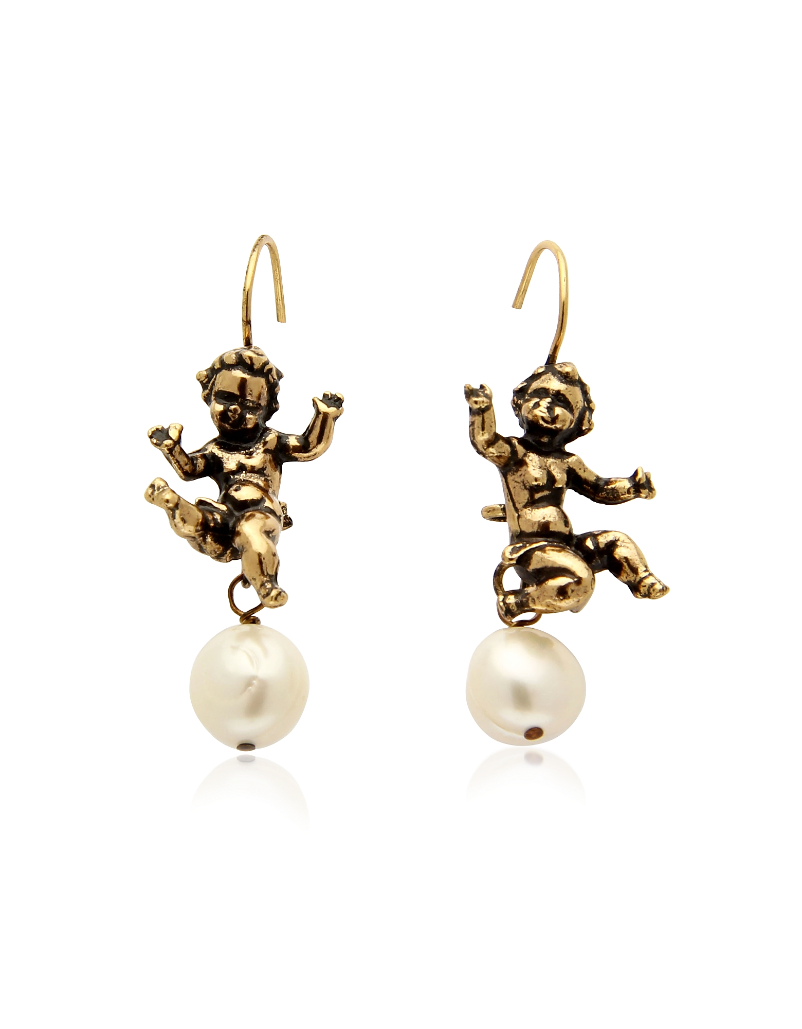 Naughty Children Gold Plated Brass and Glass Pearl Earrings от Forzieri.com INT