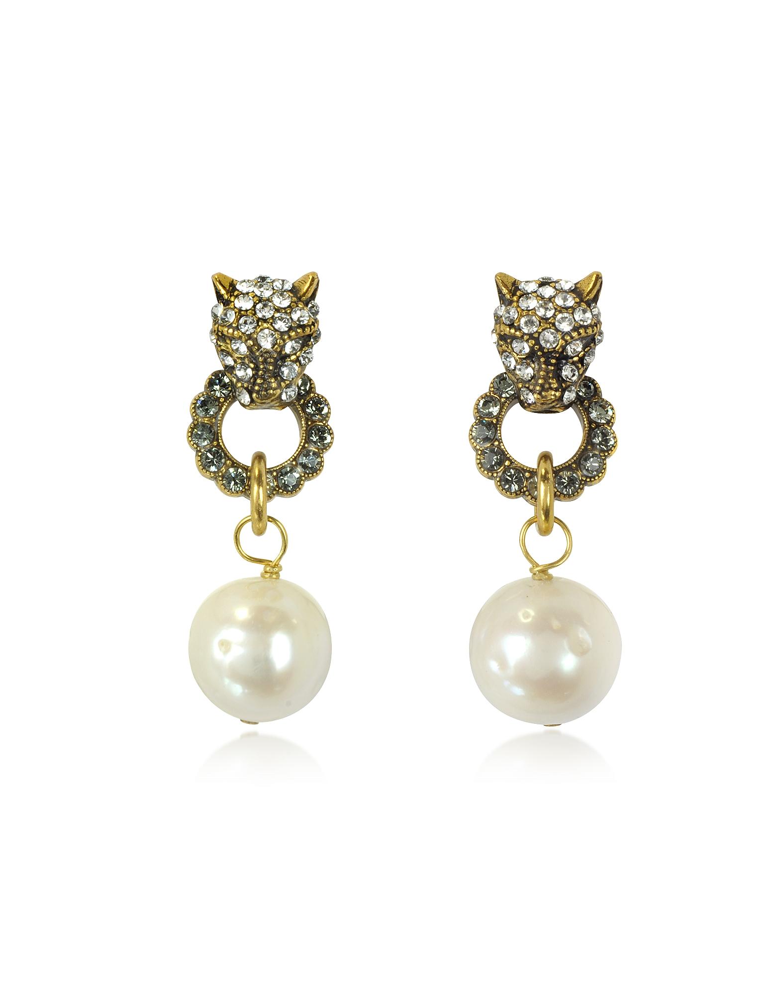 Alcozer & J Earrings, Small Panthers Goldtone Brass w/Glass Pearls Drop Earrings