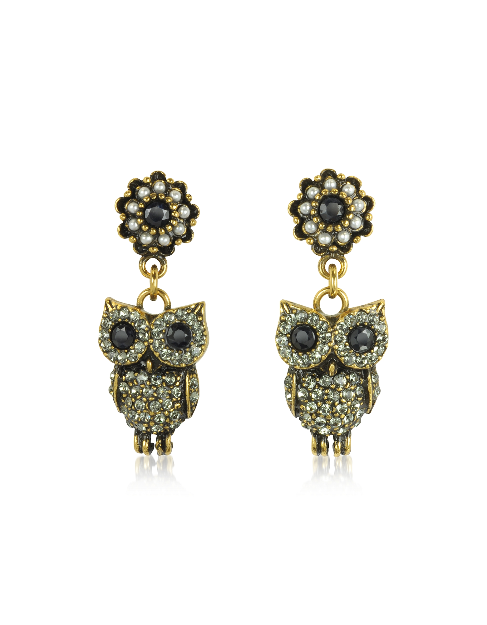 Alcozer & J Earrings, Hanging Goldtone Brass w/Crystals Drop Earrings