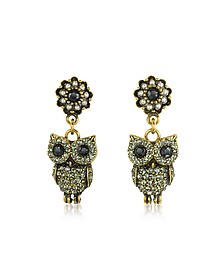Hanging Goldtone Brass w/Crystals Drop Earrings - Alcozer & J