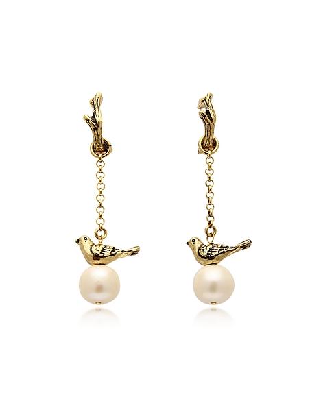 Alcozer & J Boucles d'Oreilles Oiseaux en Métal Or avec Perles Synthétiques