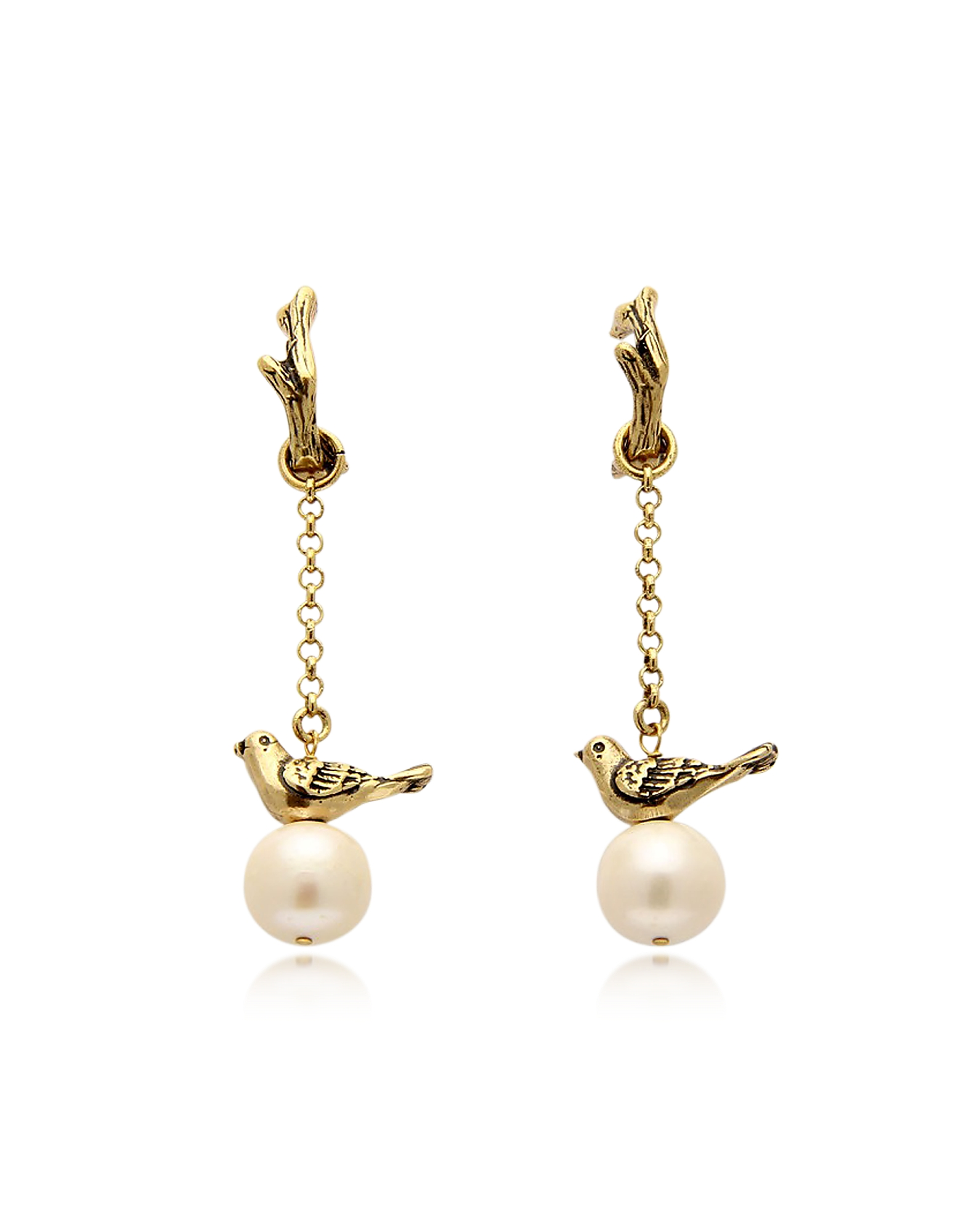 Alcozer & J Earrings, Treasure Goldtone Brass and Glass Pearls Earrings