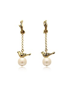 Treasure Goldtone Brass and Glass Pearls Earrings - Alcozer & J