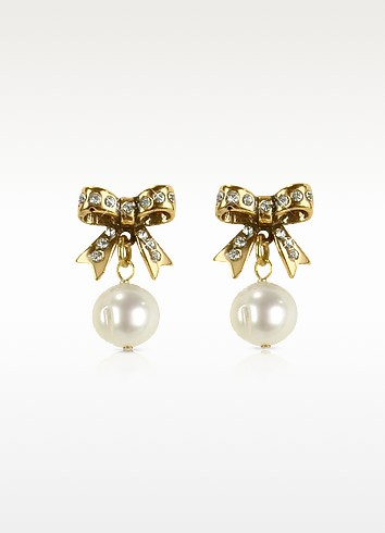Bow and Pearl Drop Earrings - Alcozer & J
