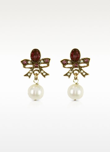 Gemstone and Pearl Bow Earrings - Alcozer & J