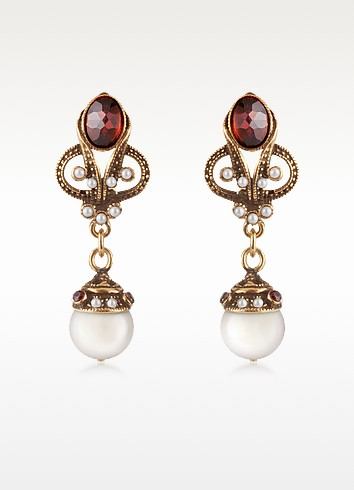 Gemstone and Pearl Drop Earrings - Alcozer & J