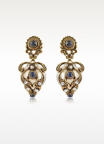 Gemstone & Pearl Drop Earrings - Alcozer & J