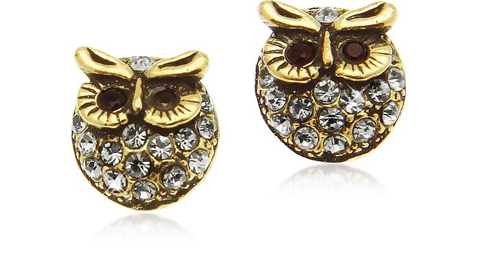 Crystal Brass Owl - Ohrringe - Alcozer & J
