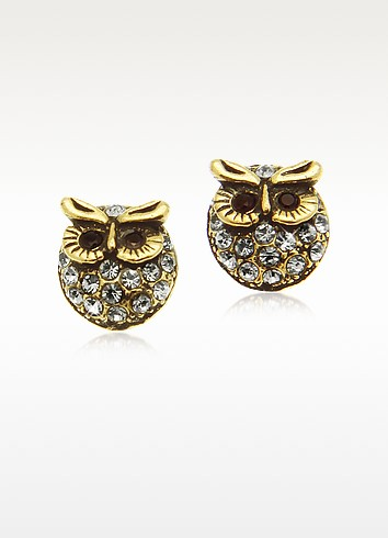 Crystal Brass Owl Earrings - Alcozer & J