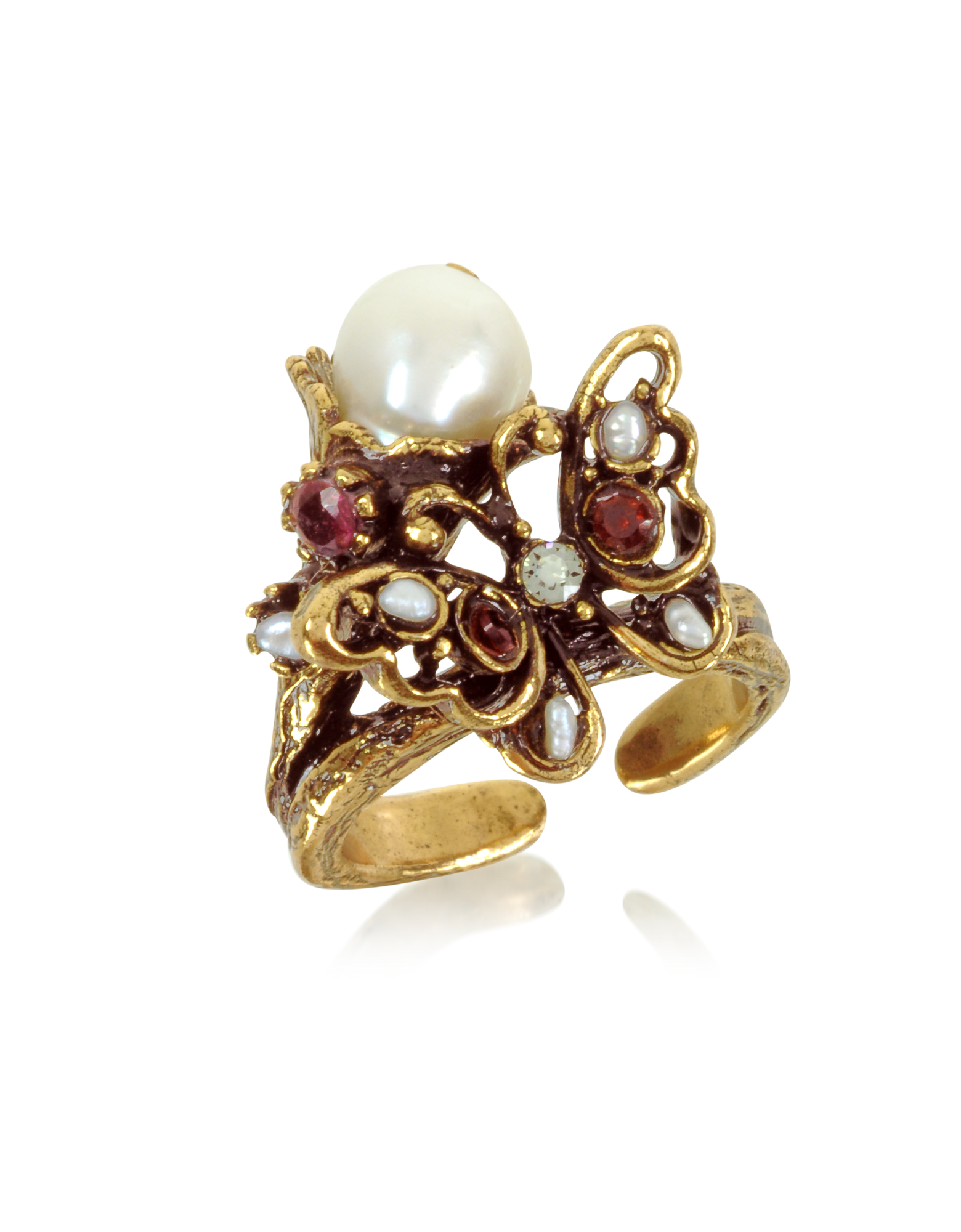 Image of Butterfly Brass Ring w/Glass Pearl