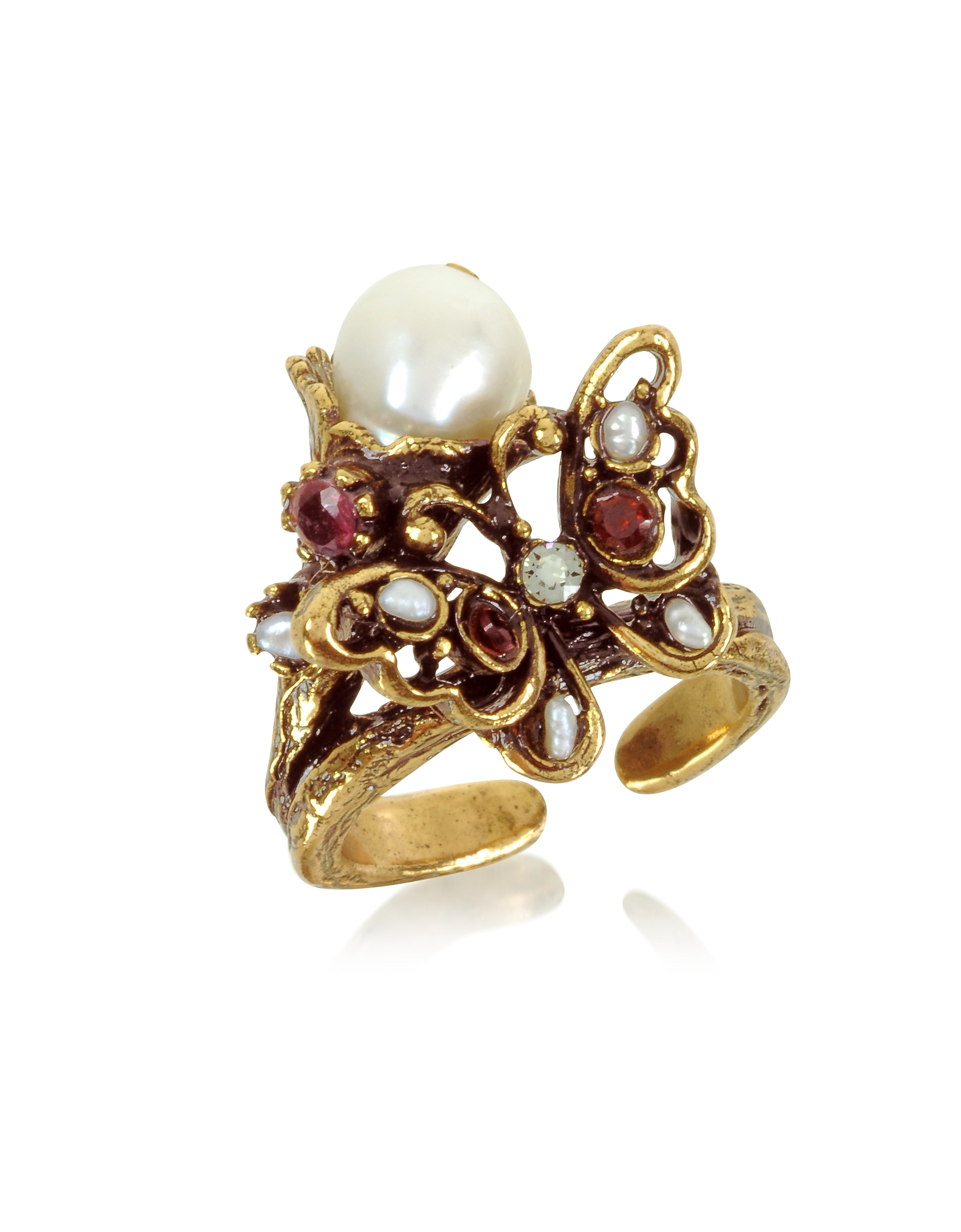 Butterfly Brass Ring w/Glass Pearl