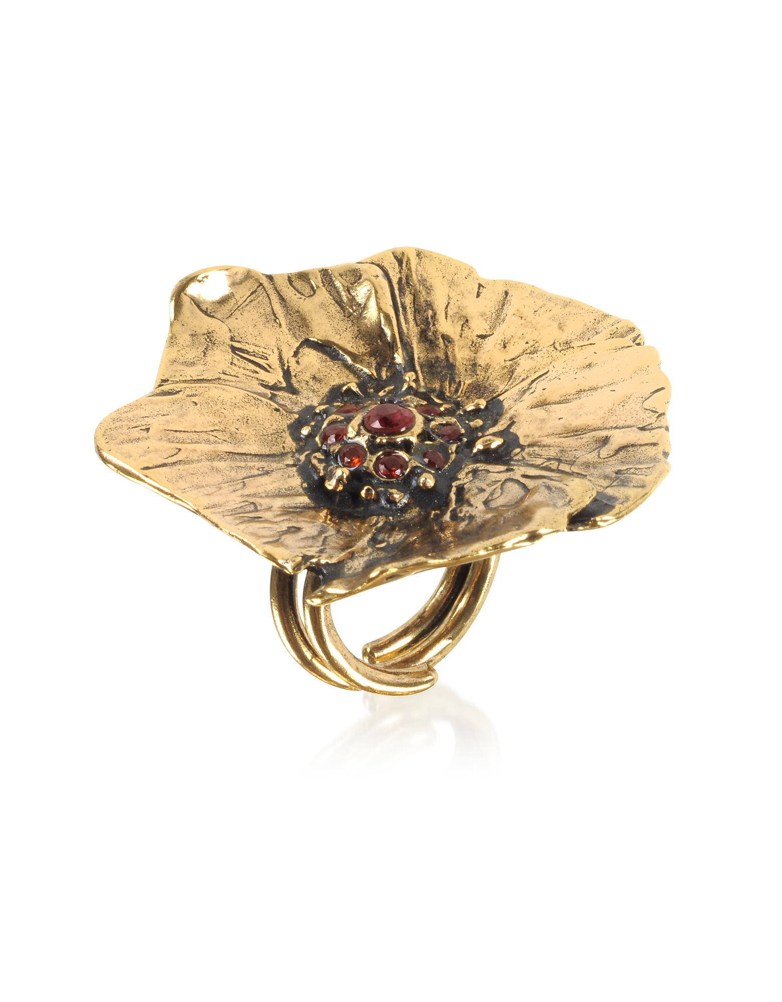 Goldtone Brass Poppy Ring