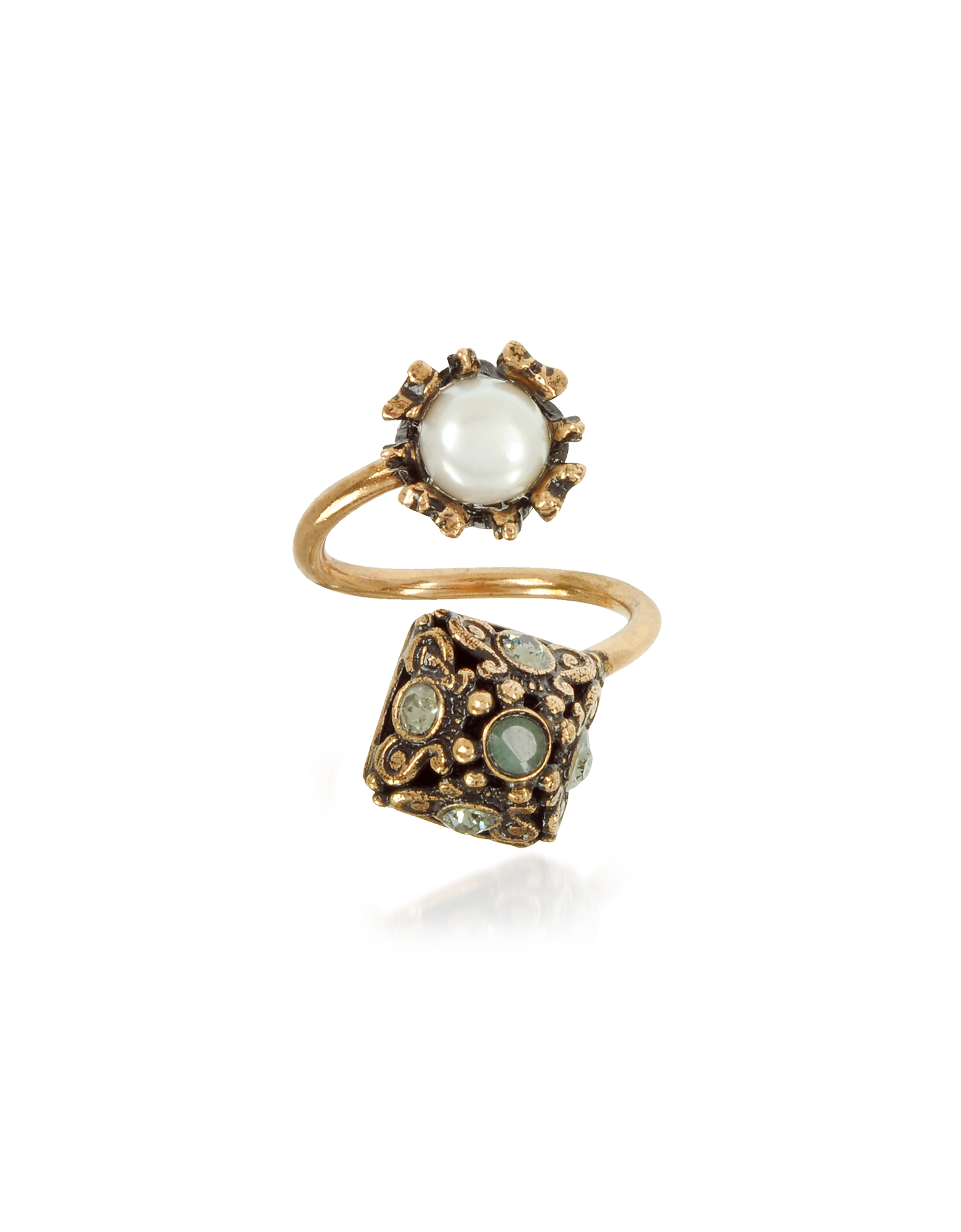 Pyramid and Pearl Ring w/Gemstones, Gold