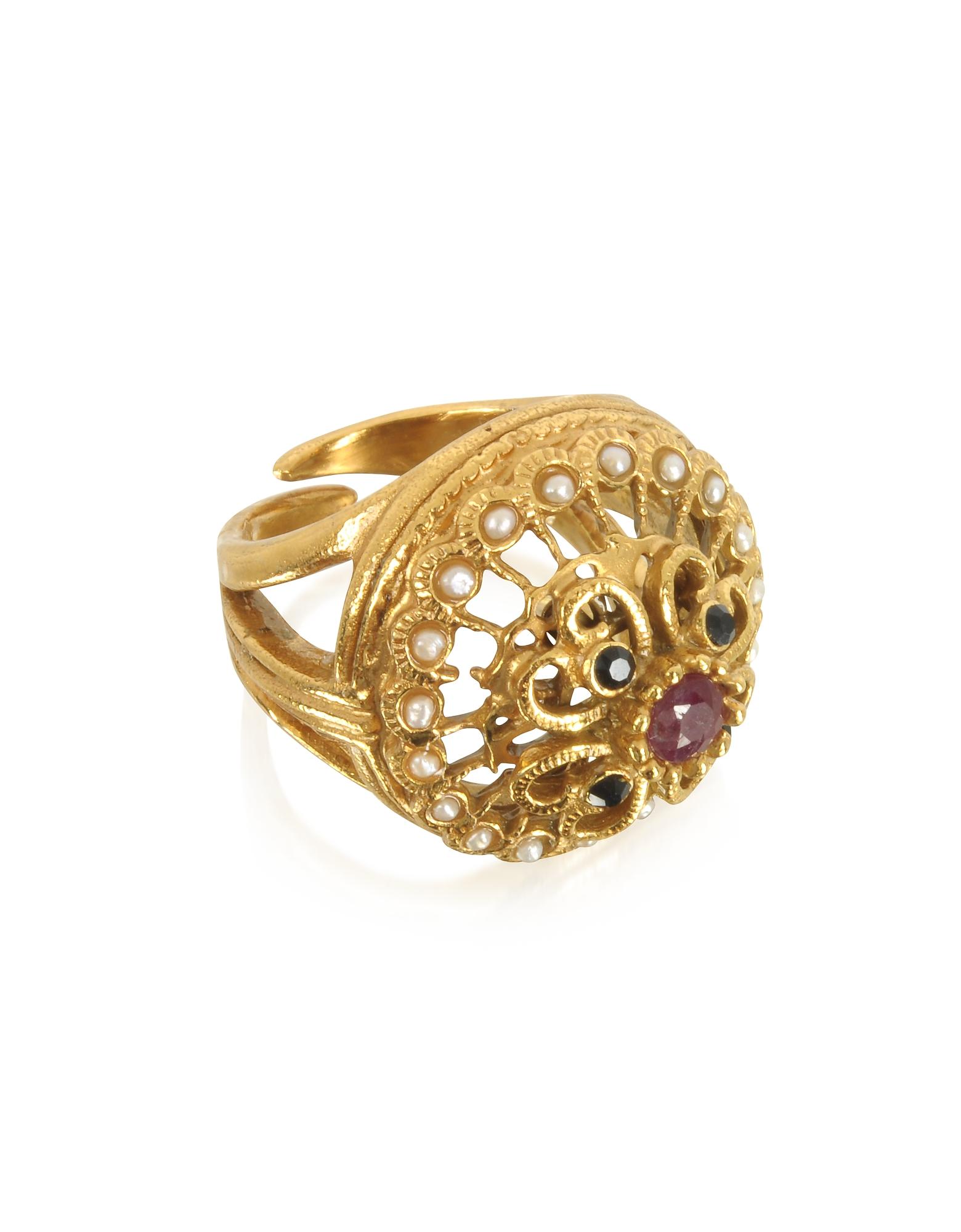 Alcozer & J Rings, Mandala Ring w/Stones & Pearls