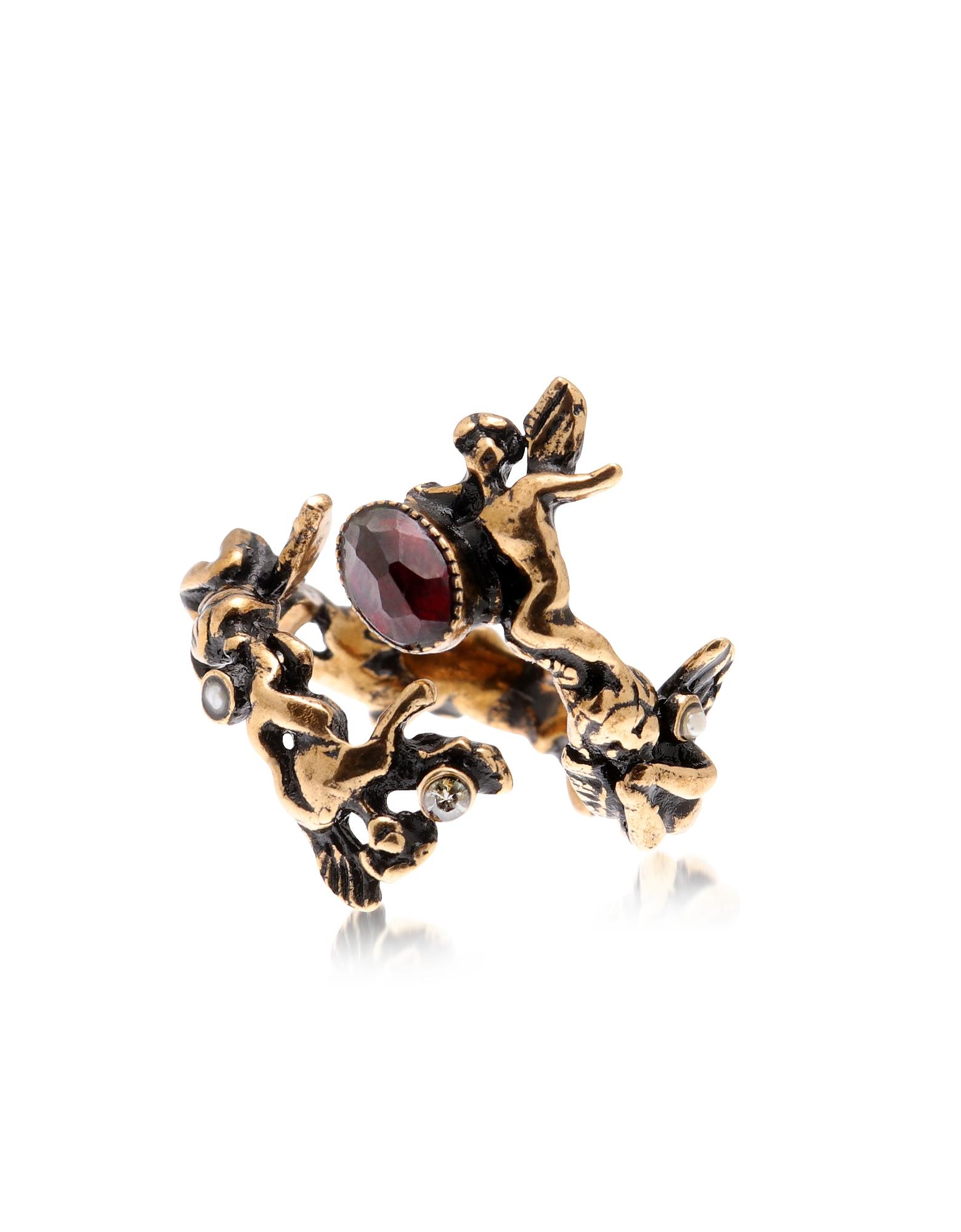 Amorino Golden Brass Ring w/Gemstones