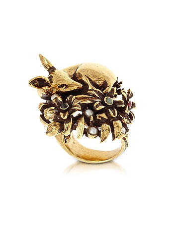 Alcozer & J - Fawn Goldtone Brass Ring w/Glass Pearl