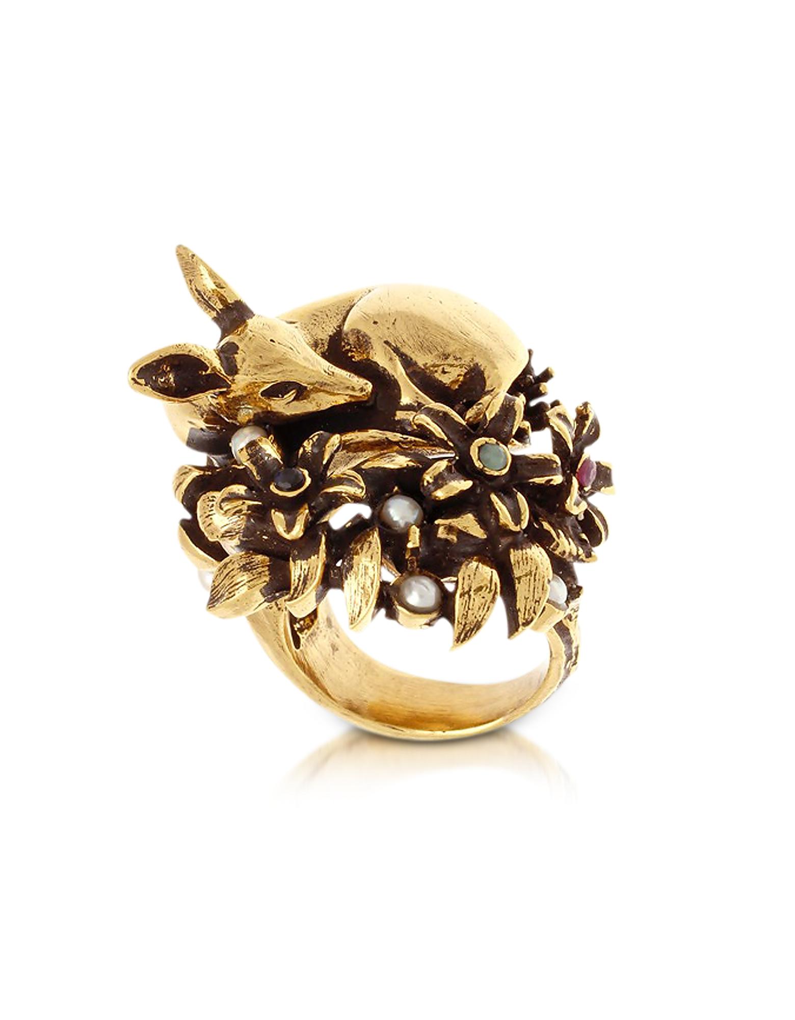Золотистое Кольцо из Меди с Молодым Оленем и Стеклянными Жемчужинами
