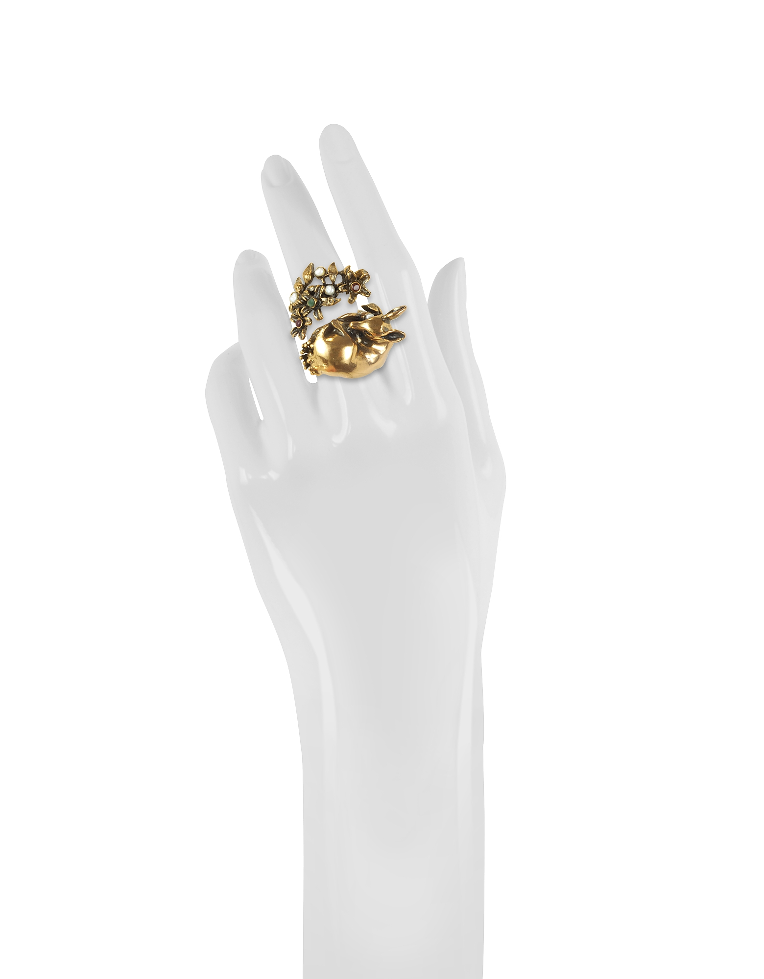 Fawn Goldtone Brass Ring w/Glass Pearl от Forzieri.com INT
