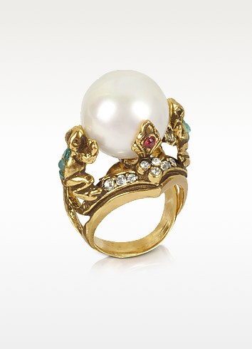 Frog - Glass Pearl Ring - Alcozer & J
