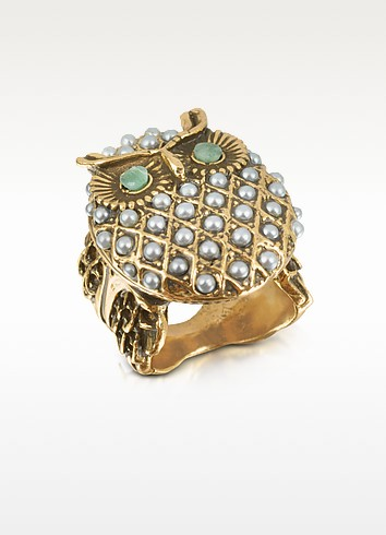 Owl Brass & Glass Pearl Ring - Alcozer & J