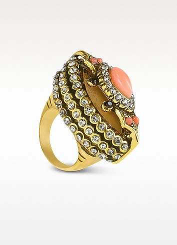 Coral and Garnet Crystal Brass Ring  - Alcozer & J
