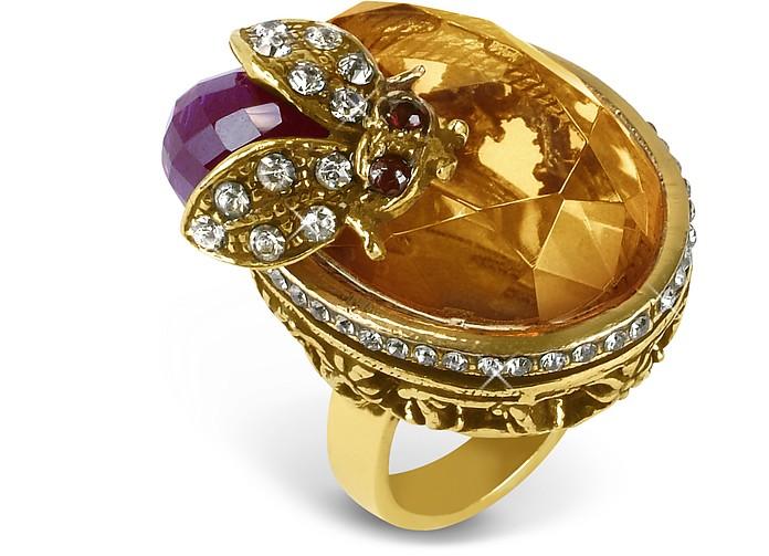 Crystal Bee Brass Ring - Alcozer & J