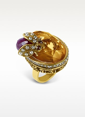 Crystal Bee Brass Ring - Alcozer & J
