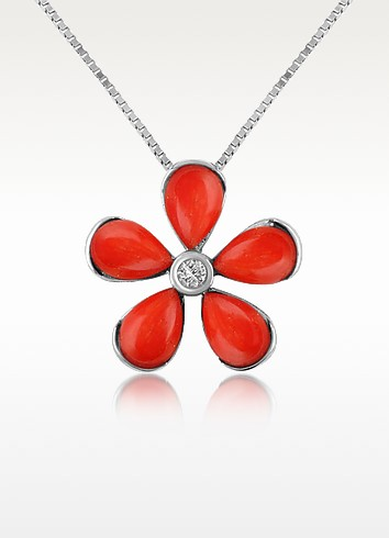 Diamond Gemstone Flower 18K Gold Pendant Necklace - Del Gatto