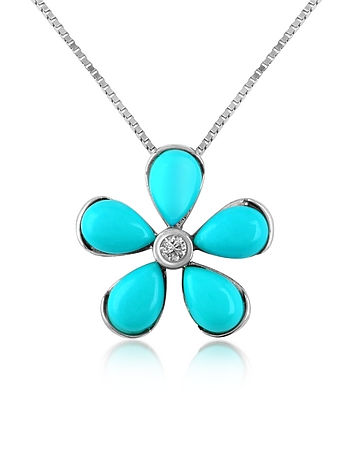 Del Gatto - Diamond Gemstone Flower 18K Gold Pendant Necklace