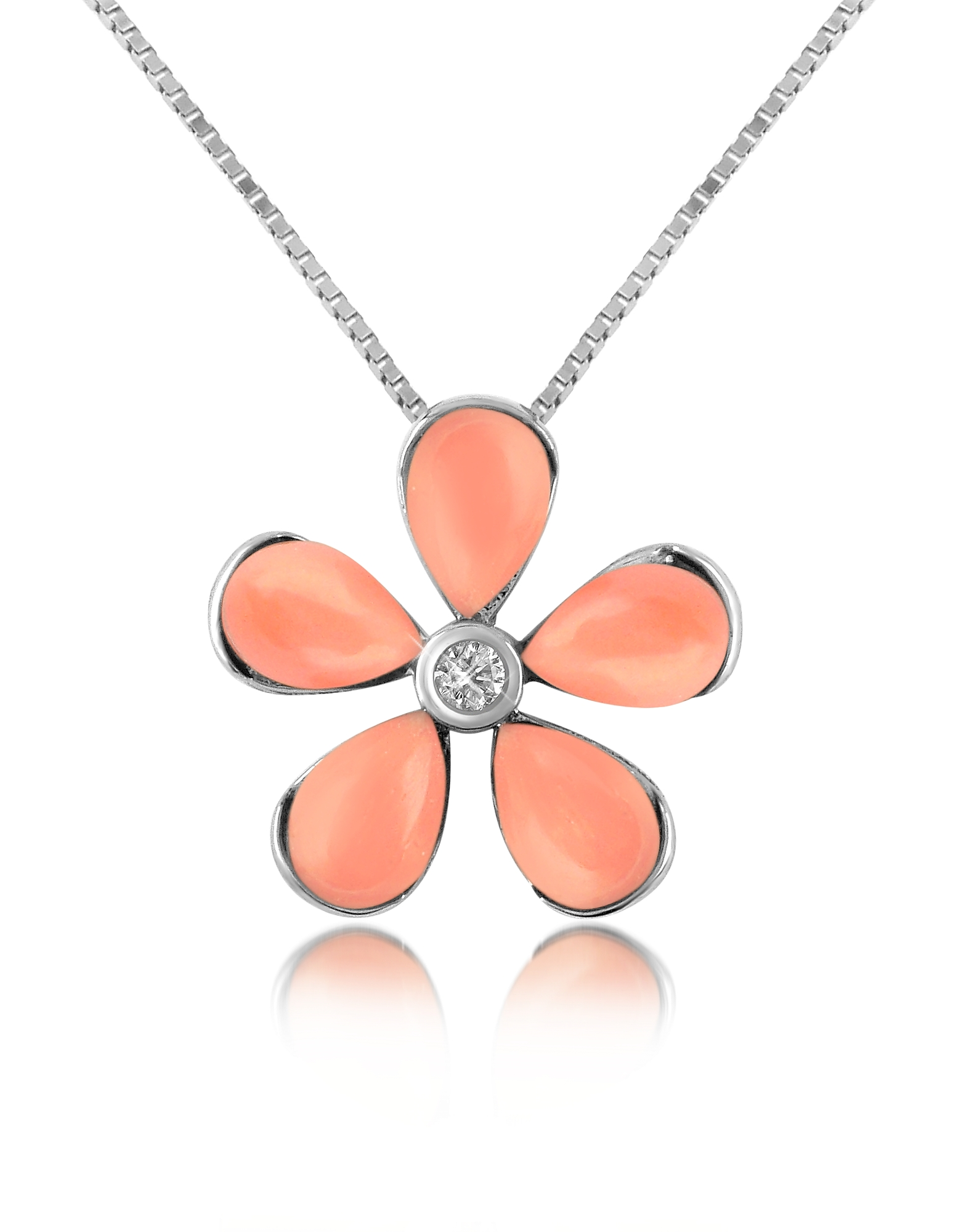 Del Gatto Necklaces, Diamond Gemstone Flower 18K Gold Pendant Necklace