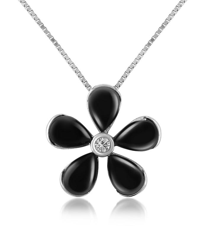 Diamond Gemstone Flower 18K Gold Pendant Necklace - Del Gatto