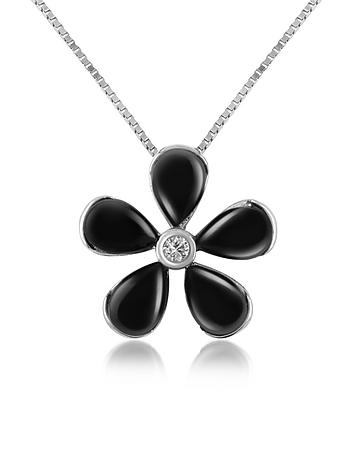 Diamond Gemstone Flower 18K Gold Pendant Necklace