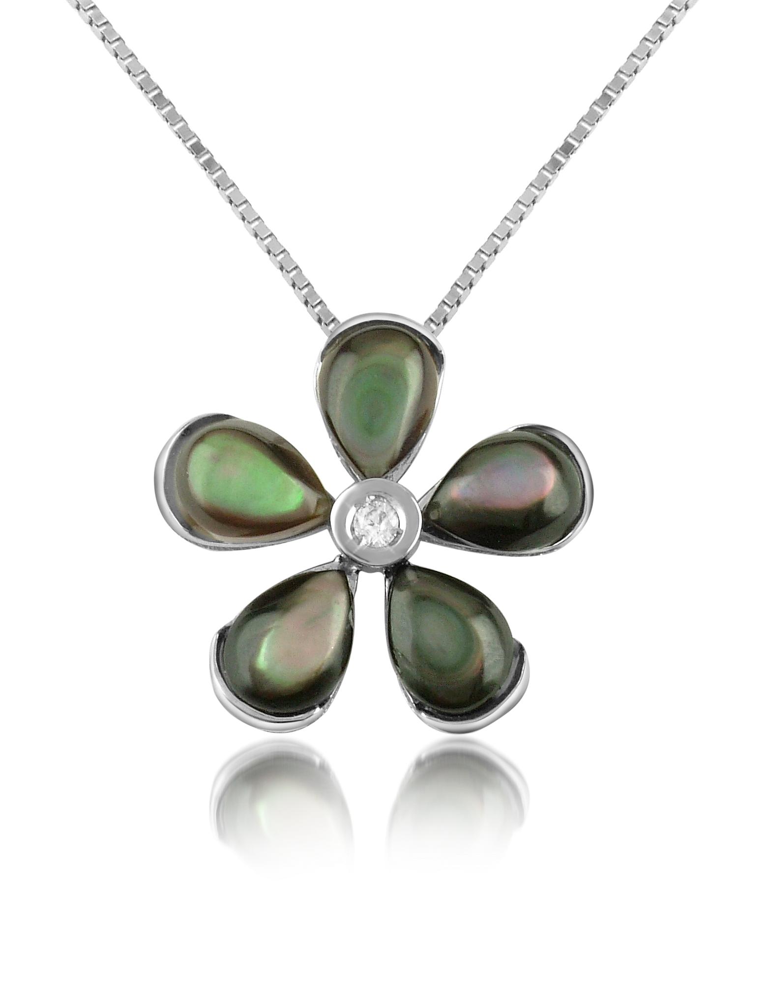 Del Gatto Necklaces, Diamond Gemstone Flower 18K Gold Pendant Necklace