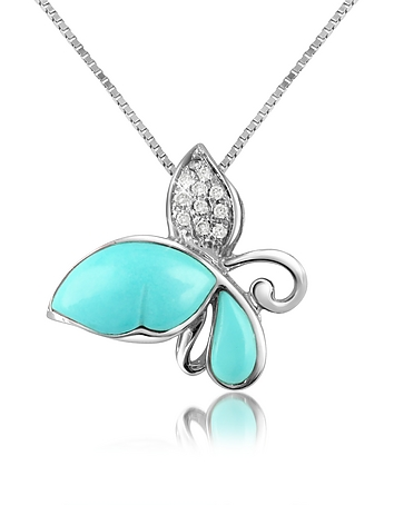 Del Gatto - Diamond Gemstone Butterfly 18K Gold Pendant Necklace
