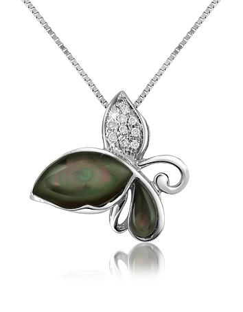 Del Gatto - Diamond Gemstone Butterfly 18K Gold Pendant Necklace