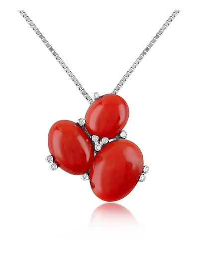 Three-Stone Diamond 18K Gold Pendant Necklace - Del Gatto