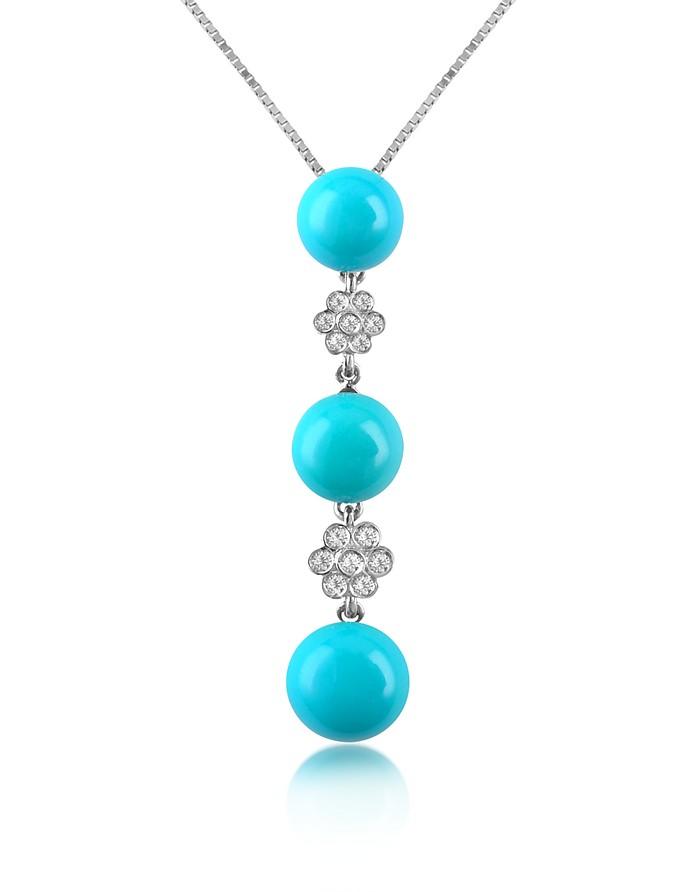 Diamond and Three-stone Drop Pendant Necklace - Del Gatto